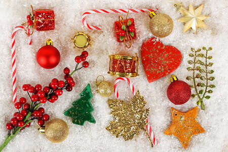 christmas objects: variety of christmas objects on fake snow Stock Photo