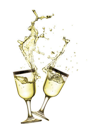 liquid splash: glasses with white wine splashing isolated on white