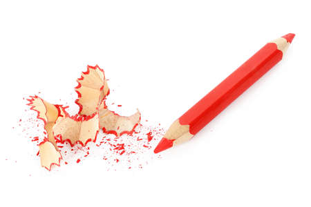 red pencil: sharpened red pencil isolated on white