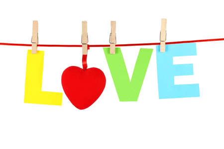 eros: colorful love word on clothesline isolated on white