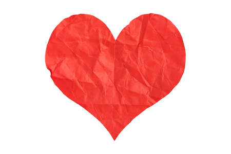 heart abstract: crumpled paper heart isolated on white background Stock Photo
