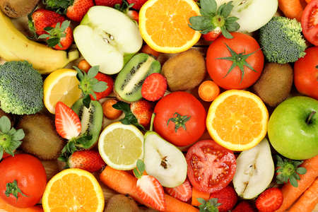 fruit: variety of fruits and vegetables