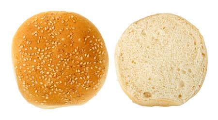 burger bun: burger bun cut in half isolated on white