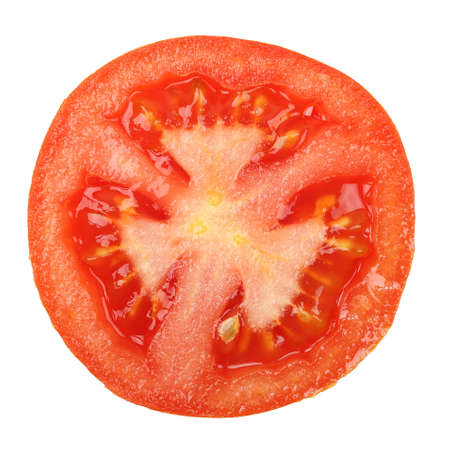 tomato slice: macro of tomato slice isolated on white Stock Photo