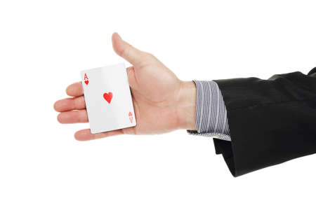 conman: male hand with ace card isolated on white