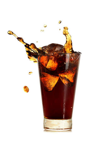 glass of coke with ice cubes and splash isolated on white