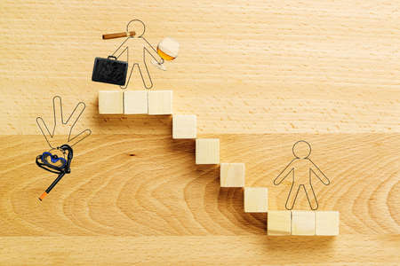 debt management: staircase with drawn person representing the rise and fall of a businessman
