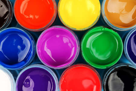 multiple objects: set of colorful paints, top view for backgrounds Stock Photo