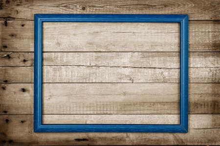 weathered: abstract blue frame on weathered wooden planks
