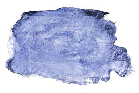 ink stain: blue ink stain on paper texture isolated on white, design element Stock Photo
