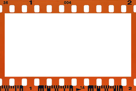 negative spaces: blank filmstrip isolated on white