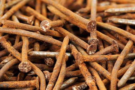 oxidation: close up of rusty nails Stock Photo