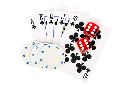games hand: playing cards with dice and poker chips isolated on white Stock Photo