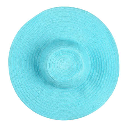 top view of cyan summer hat isolated on white