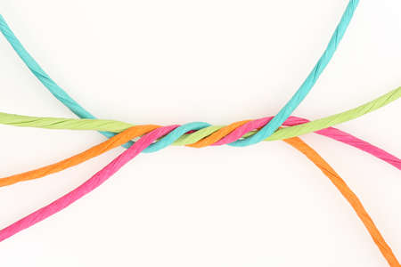 unify: intertwined colorful cords on white, abstract unity concept