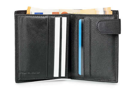 black leather wallet with euro banknotes and cards isolated