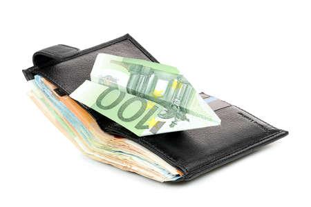 hundred euro plane on full wallet, make money concept