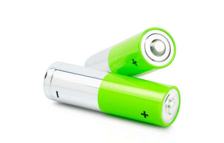 macro of two green batteries isolated on white Foto de archivo