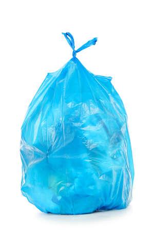 blue trash bag isolated on white