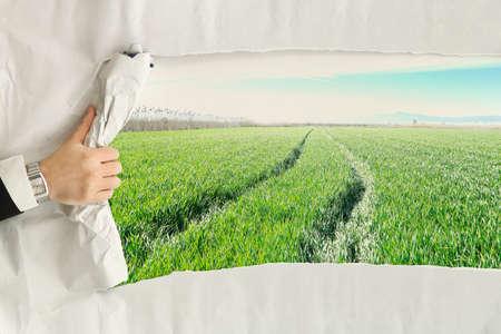 male hand ripping a paper sheet revealing a green field