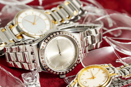 glamorous watches with pieces of broken glass