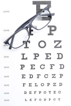 Glasses On Eye Test Chart Ophthalmology Concept Stock Photo