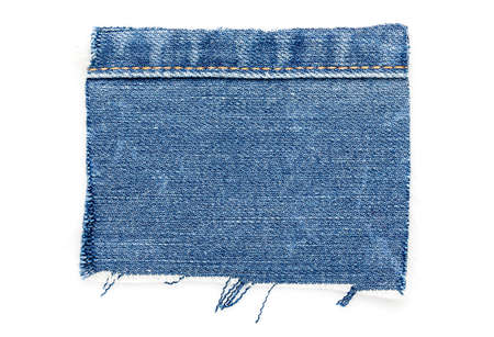 cut piece of denim with stitch isolated on white
