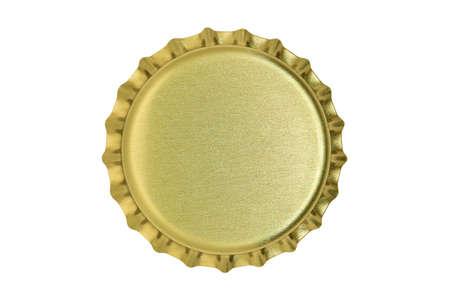 macro of metallic bottle cap isolated on white Stockfoto