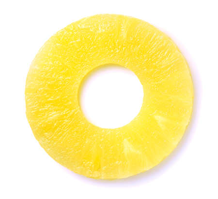close up of pineapple slice isolated on white Imagens