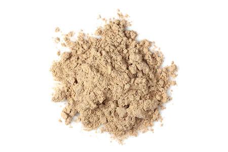 chocolate whey protein powder isolated on white, top view Stockfoto