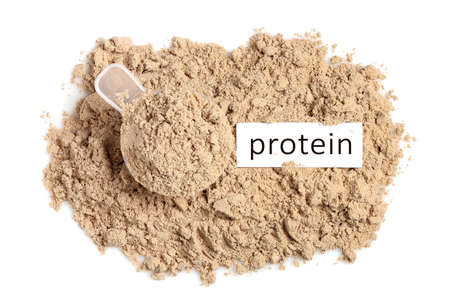 scoop with chocolate whey protein powder isolated on white, top view
