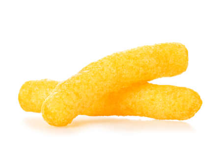 macro of cheese puffs isolated on white