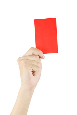hand with red card isolated on white, red card is shown when a soccer player is disqualified Stockfoto