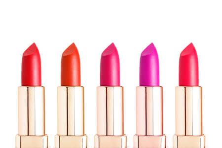 assortment of lipstick colors isolated on white Stockfoto