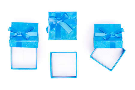 top view of  empty gift box isolated on white