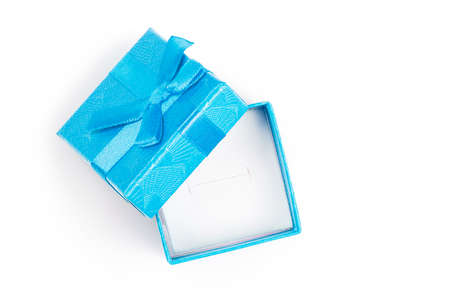 top view of half-opened empty gift box isolated on white Stockfoto