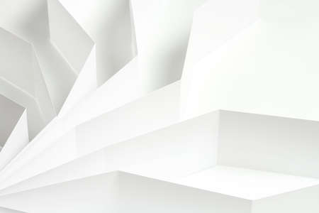 abstract white background, white paper shapes on white surface