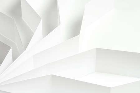 Fondo blanco abstracto, formas de papel blanco sobre superficie blanca Foto de archivo