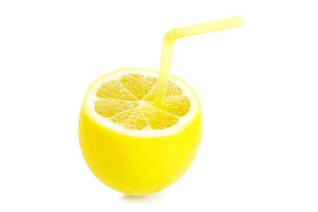lemon with drinking straw isolated on white Reklamní fotografie - 137799758