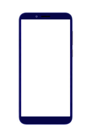 modern dark blue smart phone isolated on white