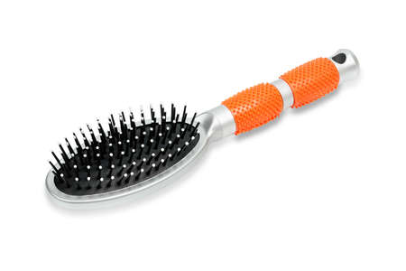 close up of new hair brush isolated on white