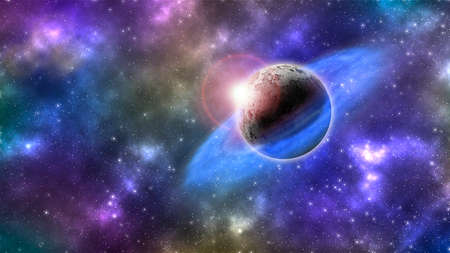 abstract planet with rings in colorful galaxy