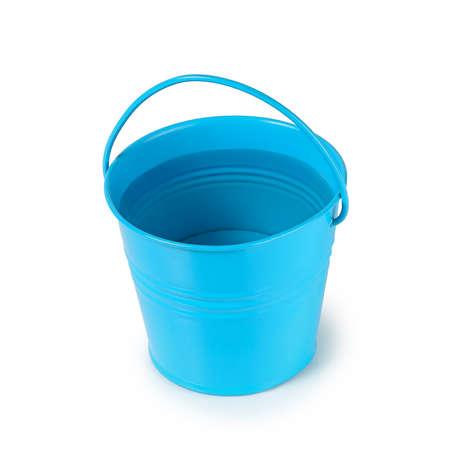 blue metal bucket full of water isolated Zdjęcie Seryjne