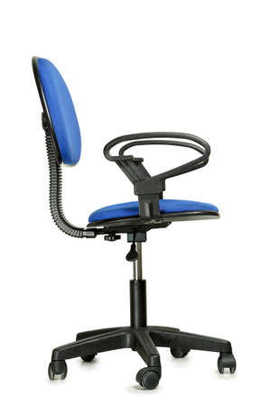 side view of blue office chair isolated on white Zdjęcie Seryjne