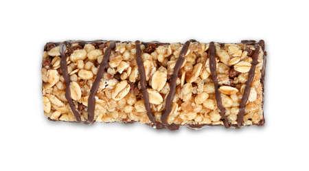 top view of protein bar with chocolate on white Zdjęcie Seryjne