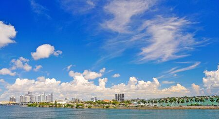 Miami photographed from a cruise ship leaving the port