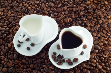Cup of milk and coffee cup photo