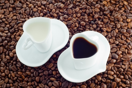 Cup of milk and coffee cup