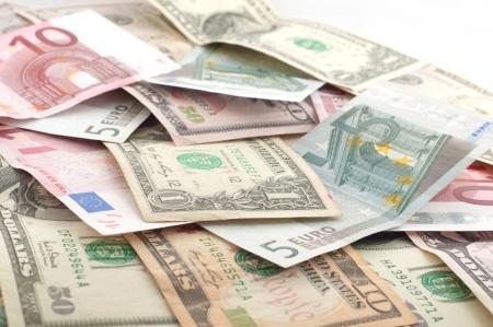 Dollar and euro Stock Photo