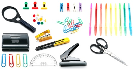 Assortment of stationery on the table Stok Fotoğraf